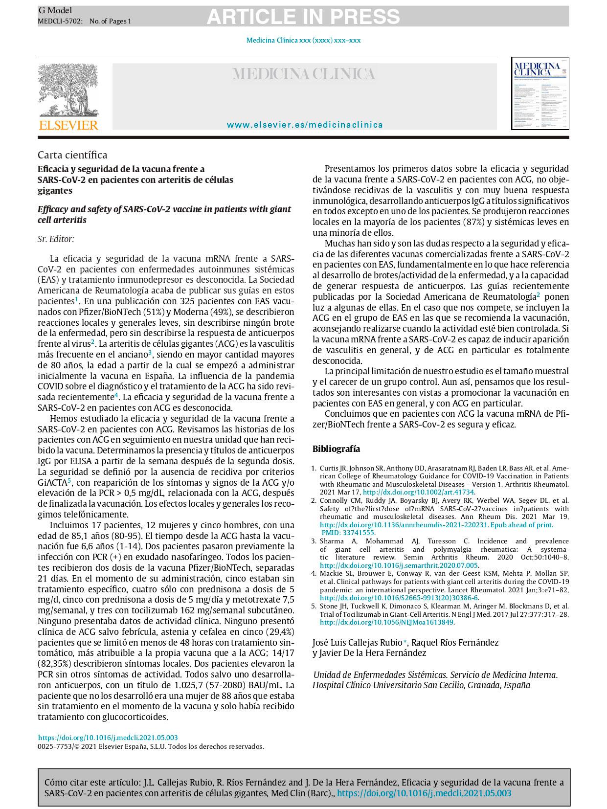 Vacuna frente a SARS-CoV-2 en pacientes con arteritis de células gigantes